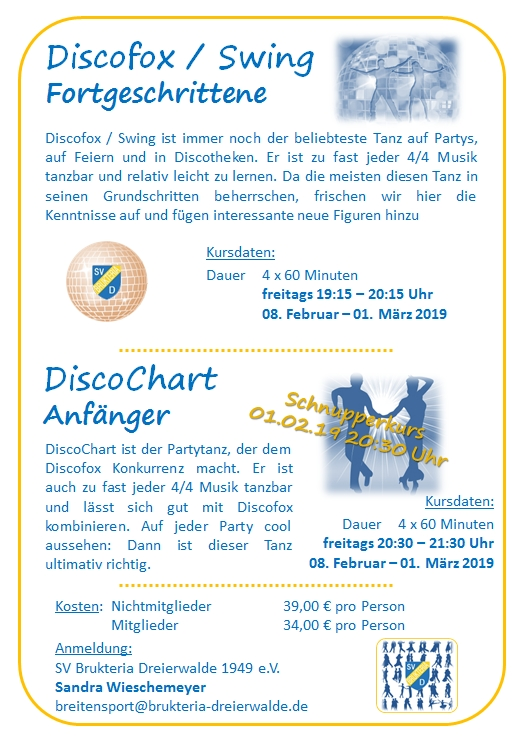 20190118 15 30 Breitensport Flyer Tanzkurse Discofox DiscoChart